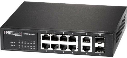 Управляемый ECS4510-12PD L2 гигабитный PD PSE коммутатор